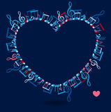 Heart frame with colorful music notes. Vector illustration of heart frame with colorful music notes Stock Photography