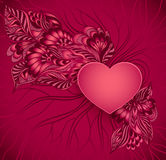 Heart  frame  with doodle flowers in red Royalty Free Stock Photos