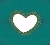 Heart frame with elegant peacock feathers Royalty Free Stock Images