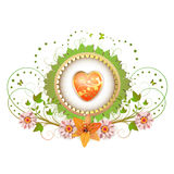 Heart and frame with flowers Stock Image