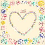 Heart frame.Gift card and sample text. Royalty Free Stock Photography