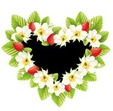 Heart frame illustration with flowers .Strawsberry Stock Photography