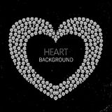Heart frame made of diamonds or rhinestones Royalty Free Stock Images