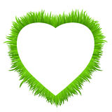 Heart frame made of grass  on white. Fresh spring, summer green grass border for your design. Natural  background with copy space for your text. Vector Royalty Free Stock Images