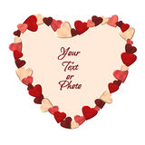 Heart frame made of hearts stock photo