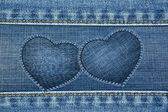 Heart frame made by jeans texture Stock Image