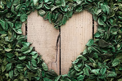 Heart frame made of leaves Royalty Free Stock Photos