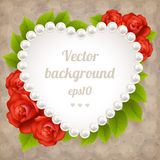 Heart frame made from pearls Royalty Free Stock Images