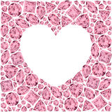 Heart frame made of pink gemstones Stock Photo