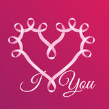 Heart frame made of realistick pink ribbon. It can be used for greeting cards for Valentine's Day Royalty Free Stock Photos