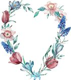 Heart frame made of spring flowers. Watercolor illustration isolated on white background vector illustration