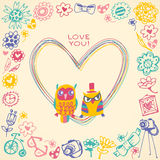 Heart frame. Owls cute gift card and sample text. Royalty Free Stock Photo