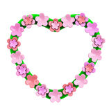 Heart frame with pink flowers, 3d stock illustration