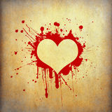 Heart frame of red blood splash on old paper Royalty Free Stock Image