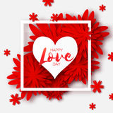 Heart frame. Red Flower paper. Happy Valentine`s day Stock Photo