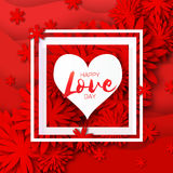 Heart frame. Red Flower paper. Happy Valentine`s day Royalty Free Stock Photos