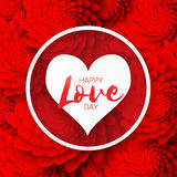 Heart frame. Red Flower paper. Happy Valentine`s day Stock Images