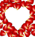 Heart frame from red rose petals Stock Photo