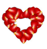 Heart Frame From Red Rose Petals on white background Stock Images