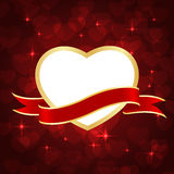 Heart frame ribbon. On bokeh red background. vector illustration Royalty Free Stock Photography