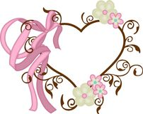 Heart frame with ribbon bow and flowers Royalty Free Stock Photo