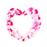 Heart frame from rose petals Royalty Free Stock Image