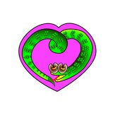 Heart frame with a symbol of a snake surrounded.  illustration. Of Holiday sweetheart Valentine Stock Image