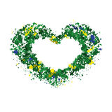 Heart, frame for text, сolors of the Brazilian flag Royalty Free Stock Images