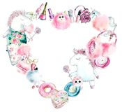 Heart frame from unicorn and girls pink things. Watercolor hand drawn illustration vector illustration