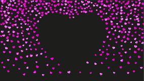 Valentine background with pink glitter hearts. February 14th day. Vector confetti for valentine background template. Heart frame for Valentines day with pink Stock Photos