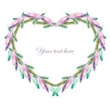 Heart frame of watercolor feathers Stock Photo