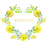 Heart frame of watercolor yellow flowers Royalty Free Stock Photo
