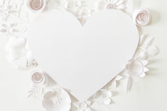 Heart frame with white paper flower Royalty Free Stock Image