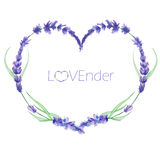 A heart frame, wreath, frame border with the watercolor lavender flowers, wedding invitation Stock Photography