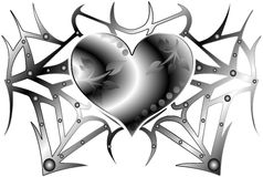 Stylized metal heart isolated Royalty Free Stock Photo