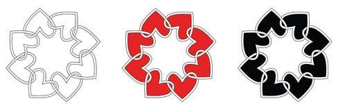 Heart frames set. Celtic style heart shaped frames -illustration isolated on white Royalty Free Stock Images