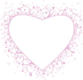 Heart framework. Pink framework with butterflies, hearts and flowers, a decorative pattern Royalty Free Stock Image