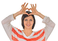 Heart framing on woman Royalty Free Stock Images