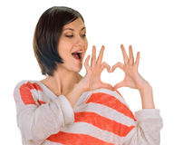 Heart framing on woman Stock Photography