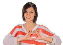 Heart framing on woman Royalty Free Stock Photography