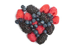 Heart of fresh berries isolated Stock Photography