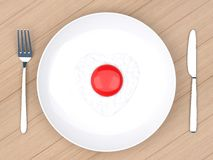 Heart fried egg in white  plate Royalty Free Stock Image