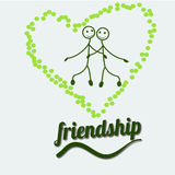 Heart with Friendship Day title, children, friends. Vector illustration. Heart with Friendship Day title, children, friends. Vector illustration Cartoon Royalty Free Stock Photo