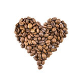 Heart From Coffee Beans Isolated On White Stock Photos