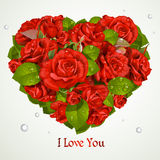 Heart fromf red roses Valentine`s day card Stock Image