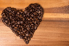 Heart fron coffee beans Royalty Free Stock Photography