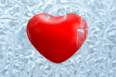 Heart on frosty background Stock Image