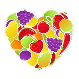 Heart From Fruit And Vegetables Royalty Free Stock Photo