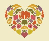 Heart from fruit and vegetables Royalty Free Stock Images