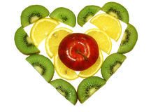 Heart of fruits. Heart made out of cut fruits Stock Photography